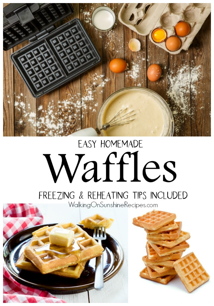 Homemade Waffles before and after baking.