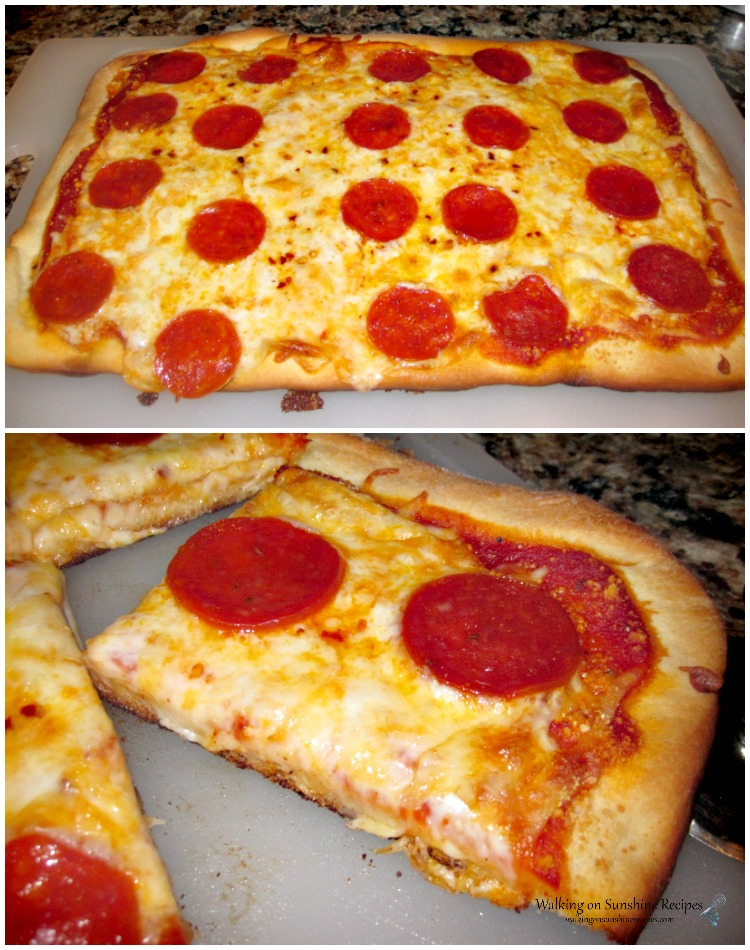 Homemade Traditional Pizza on cutting board