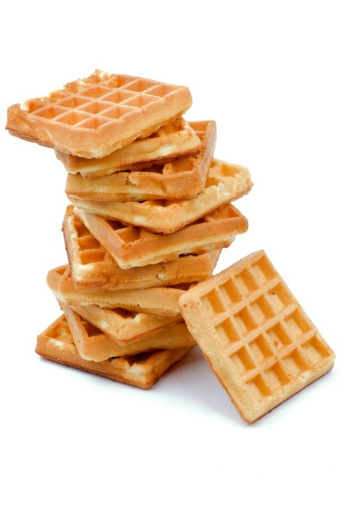 Homemade waffles stacked.