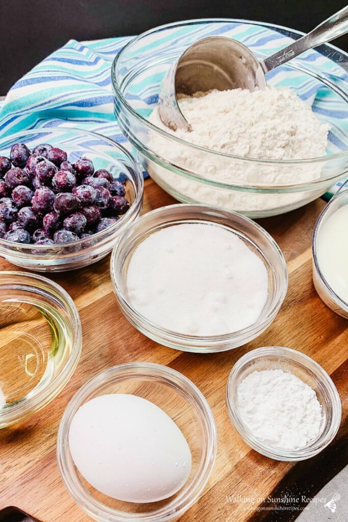 Ingredients for Homemade Blueberry Muffins.
