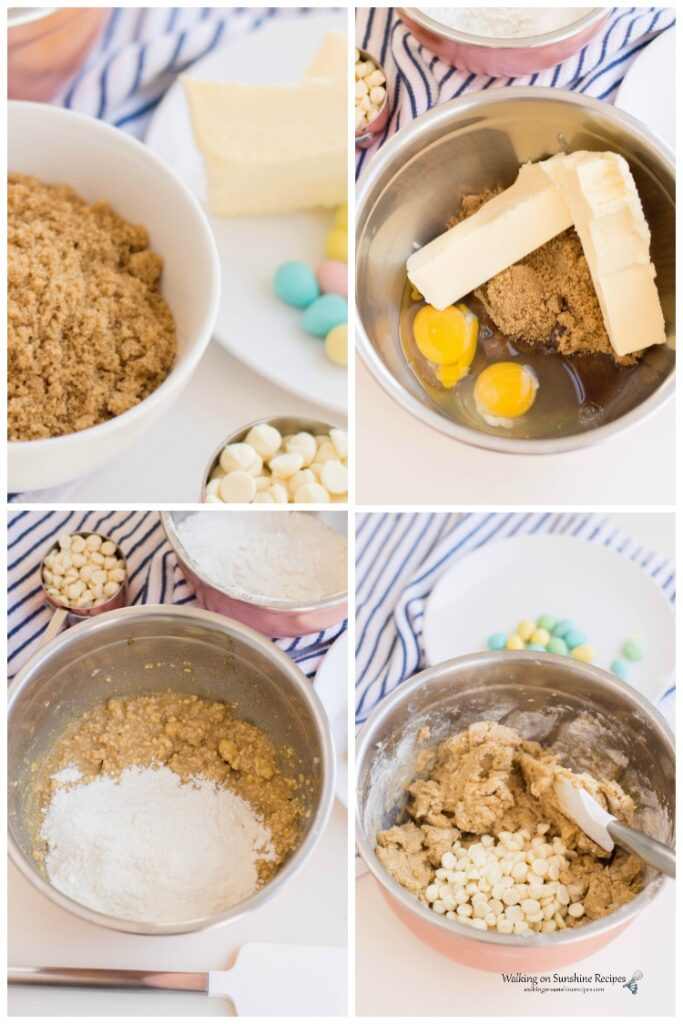 Adding the ingredients to the mixing bowl for Candy Cookie Bars.