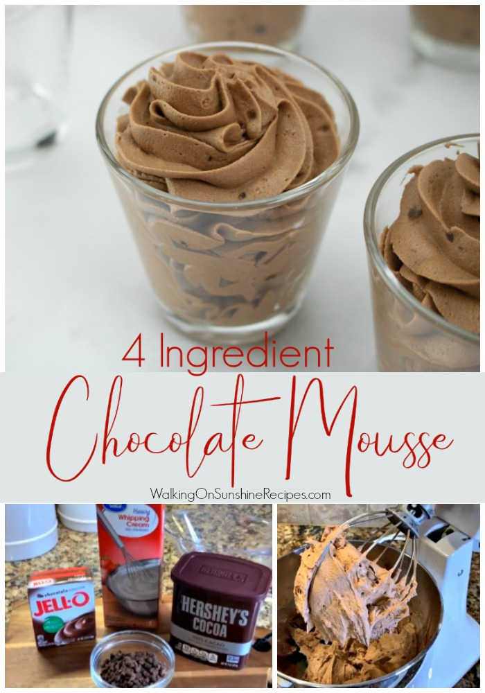 4 ingredient chocolate mousse recipe with ingredients.