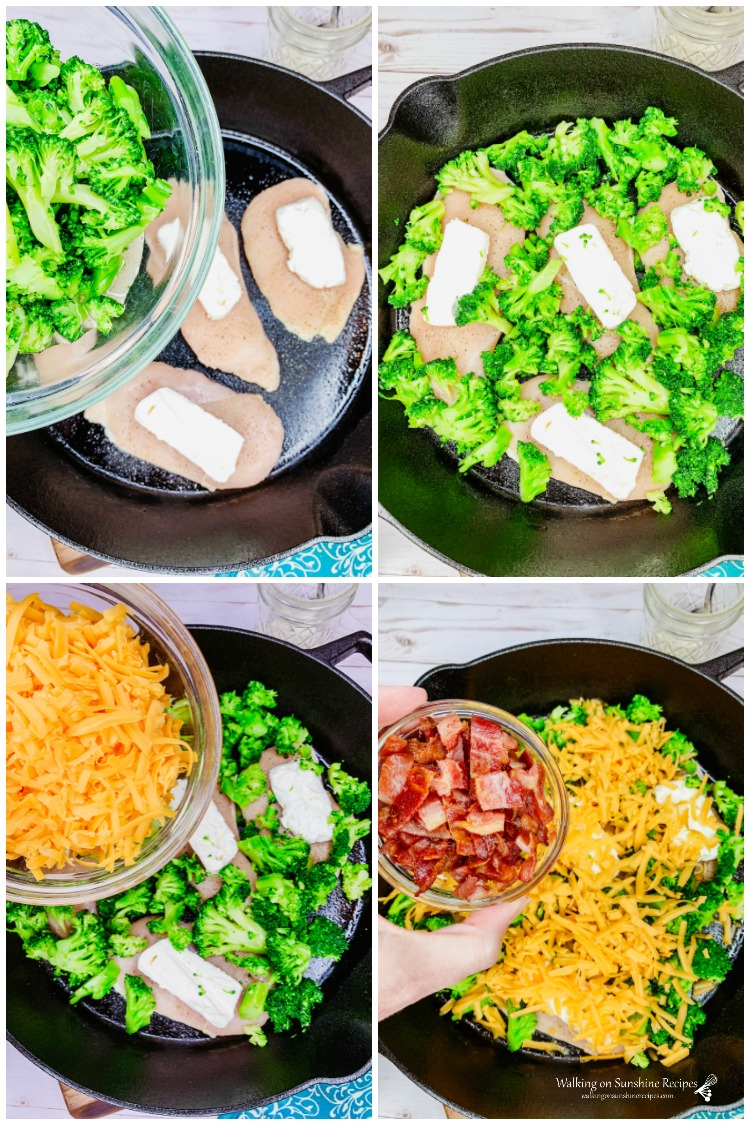 Add broccoli, cheese and bacon to the top of chicken