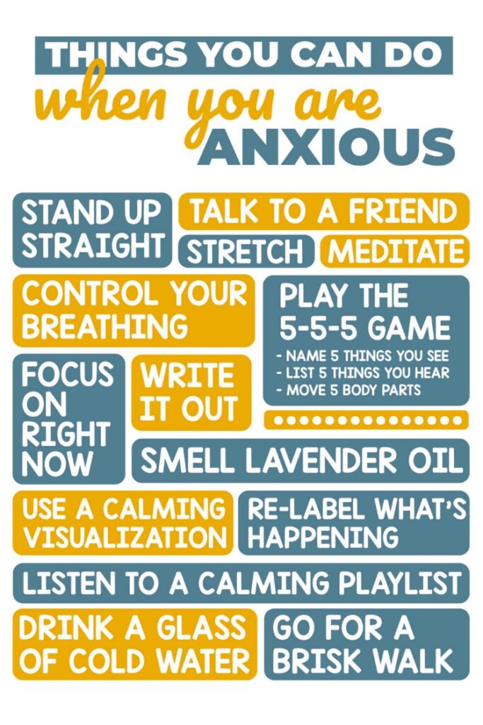 Things to do when you are anxious printable.