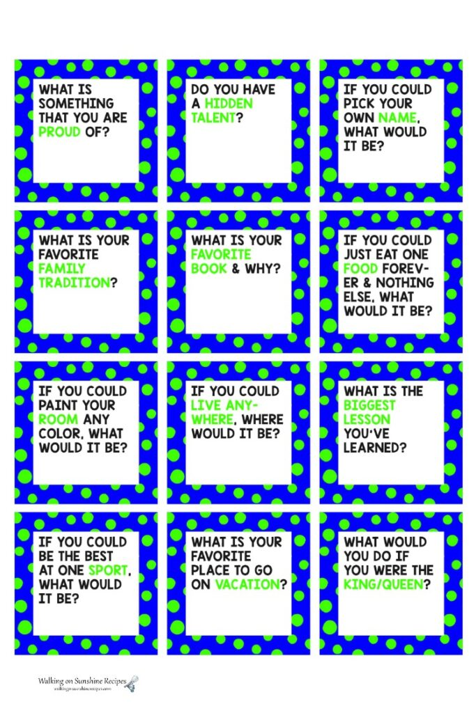 Page two of Dinner Conversation Printable cards.