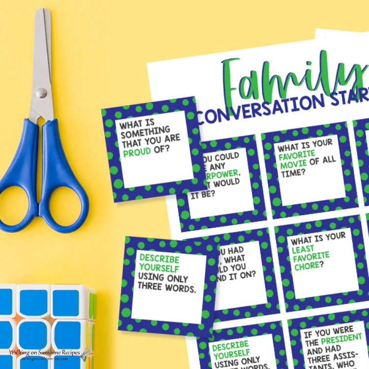 Conversation cards that you can print out and cut using scissors.