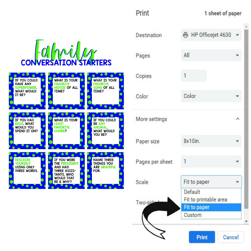 How to Print Family Conversation Starters for Weekly Meal Plan