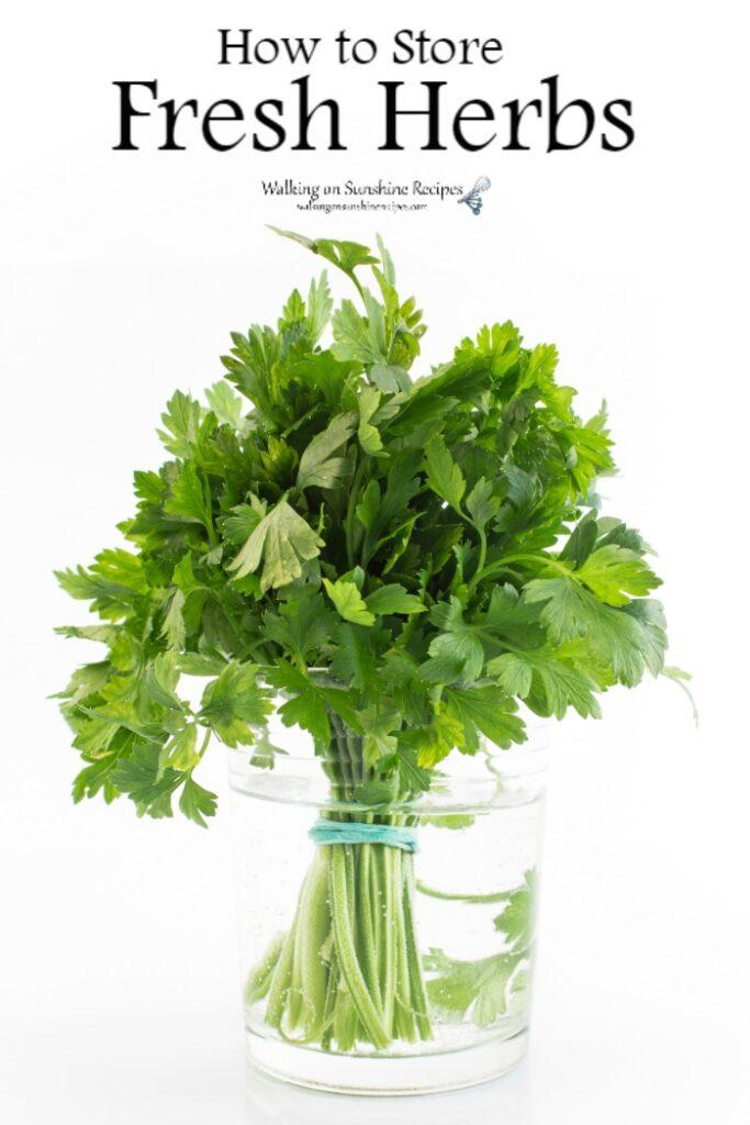 Fresh parsley in jar of water.