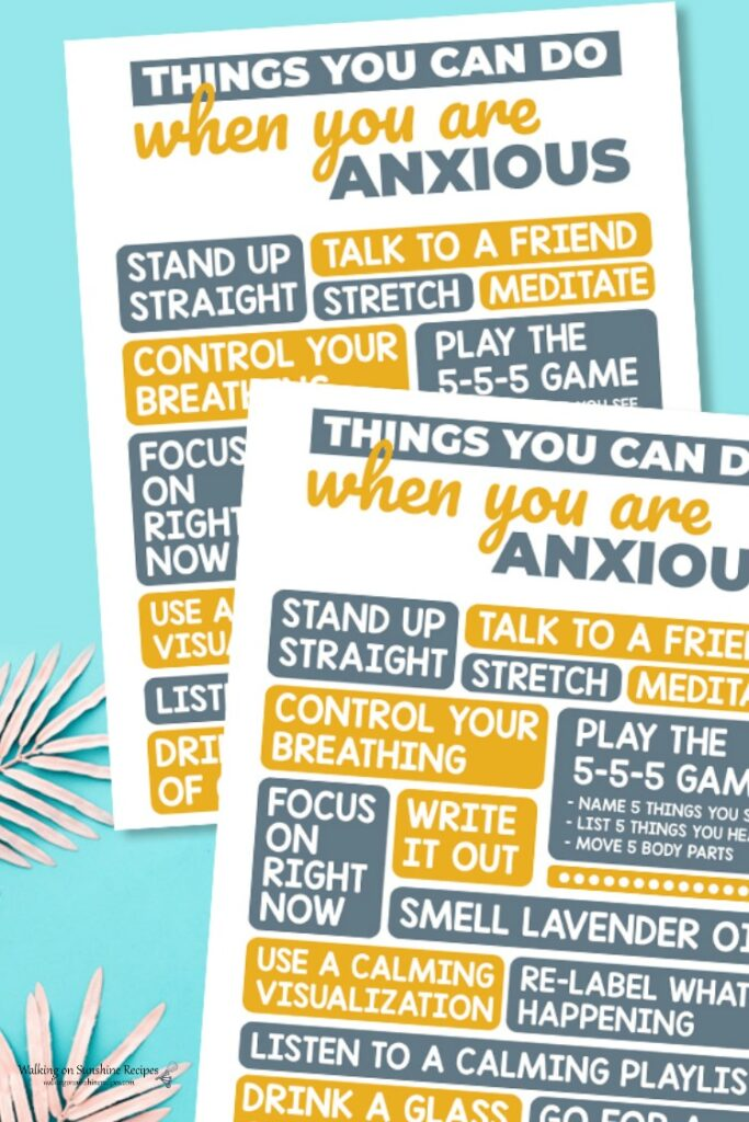 Anxiety Printable with list of ways to cope.
