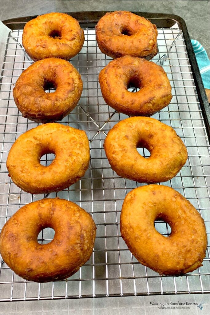 Fried Biscuit Donuts on Cooling Rack