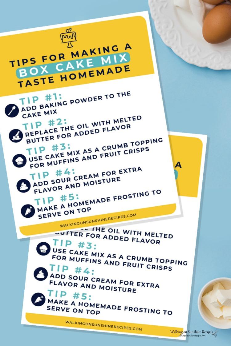 Free Cake Mix Baking Secrets Printable.