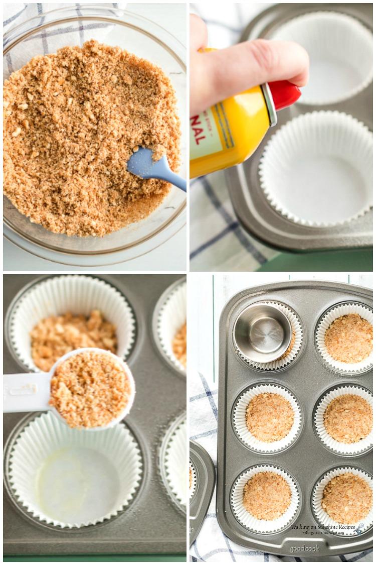 Graham Cracker Crumbs in muffin tin