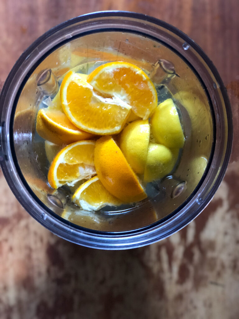 Oranges and lemons in blender with water.