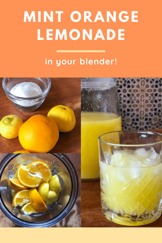 Mint orange lemonade made in the blender.
