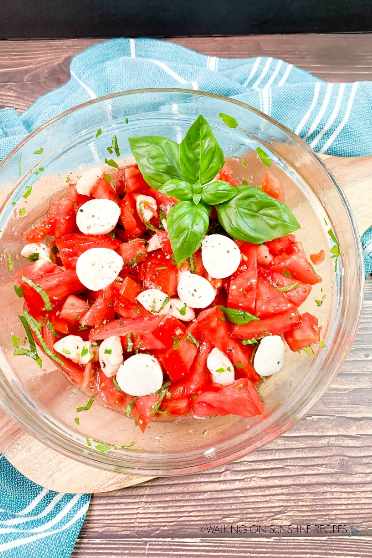 Fresh Tomato Salad in bowl with fresh basil leaves