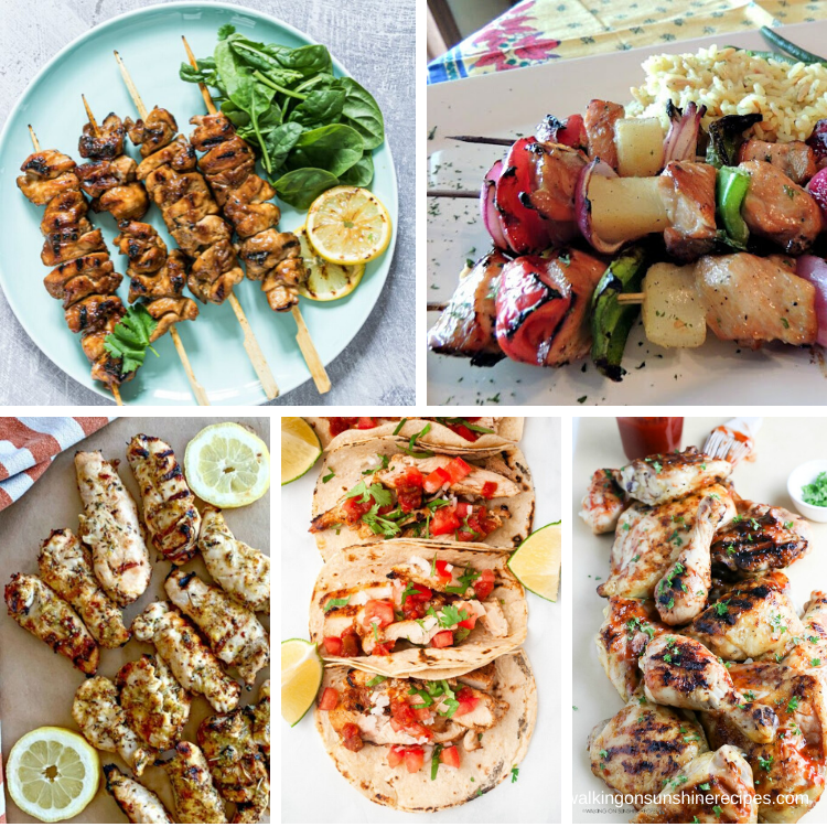 5 grilled chicken recipes for dinner this week.