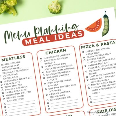 Easy Menu Planning Ideas with Free Printable