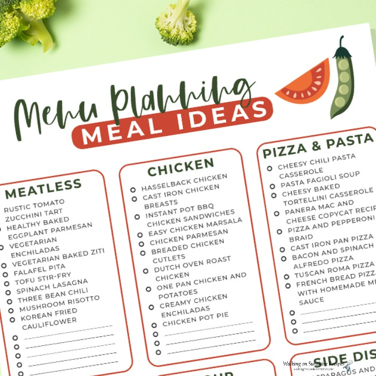 Menu Planning Meal Ideas that will help you get dinner on the table every night and printable.