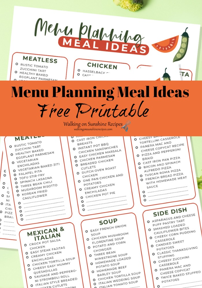 Menu Planning Meal Ideas Free Printable