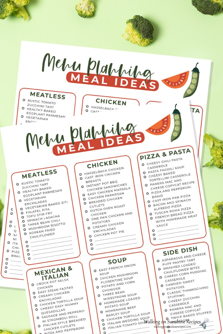 Easy Menu Planning Meal Ideas Printable.