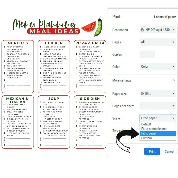 Printing instructions for Menu Planning Meal Ideas.