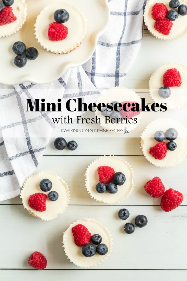 Mini Cheesecakes with Fresh Berries Closeup Pin 3