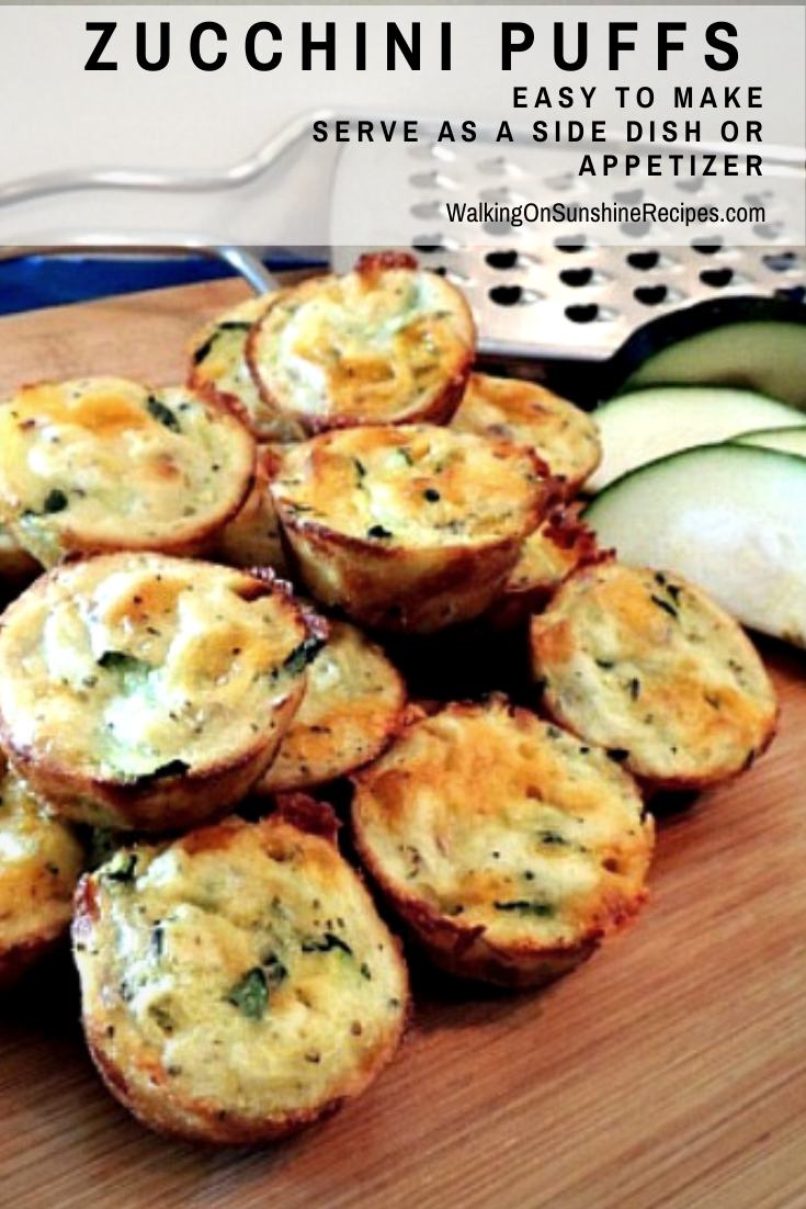 Zucchini Puffs with sliced zucchini on cutting board.