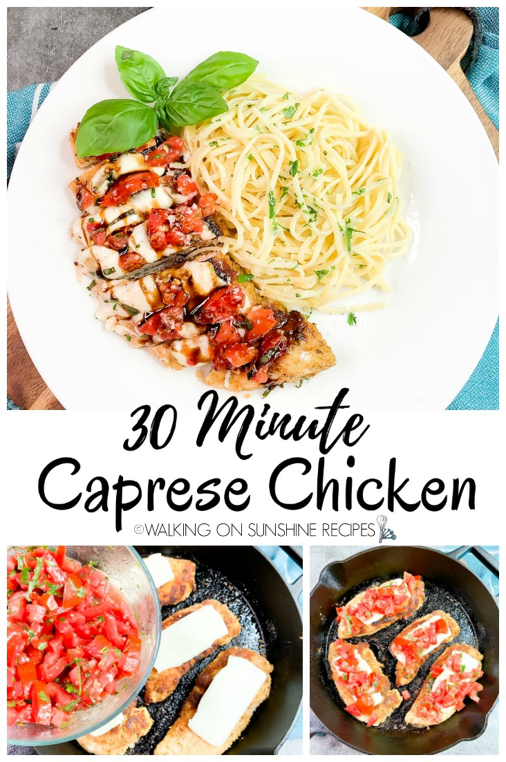 30 Minute Caprese Chicken on white plate and being cooked in cast iron pan