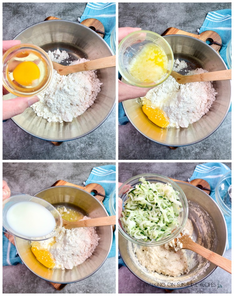 Adding egg, melted butter, milk and grated zucchini to Bisquick Baking Mix for Zucchini Muffins