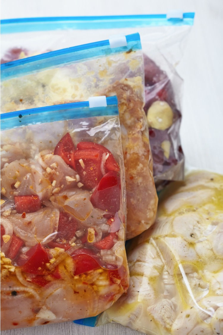 Bags with meals ready for the freezer