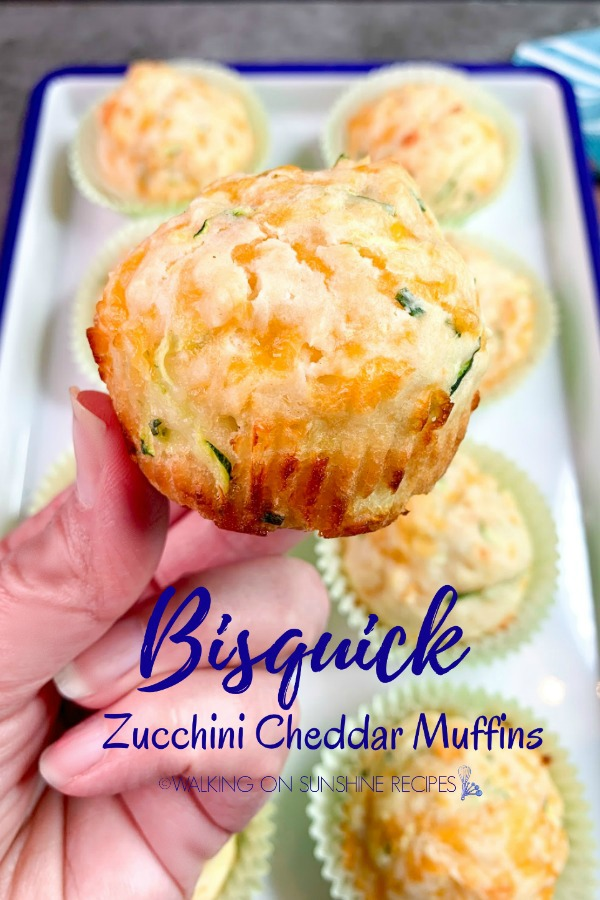 Bisquick Zucchini Cheddar Muffins from WOS closeup held in fingers