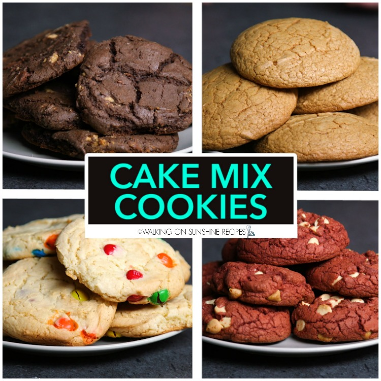 Four different cake mix cookie recipes.
