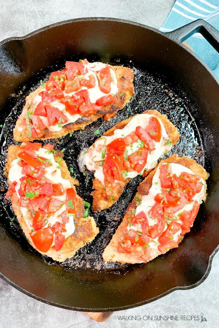 Caprese Chicken in Cast Iron Pan