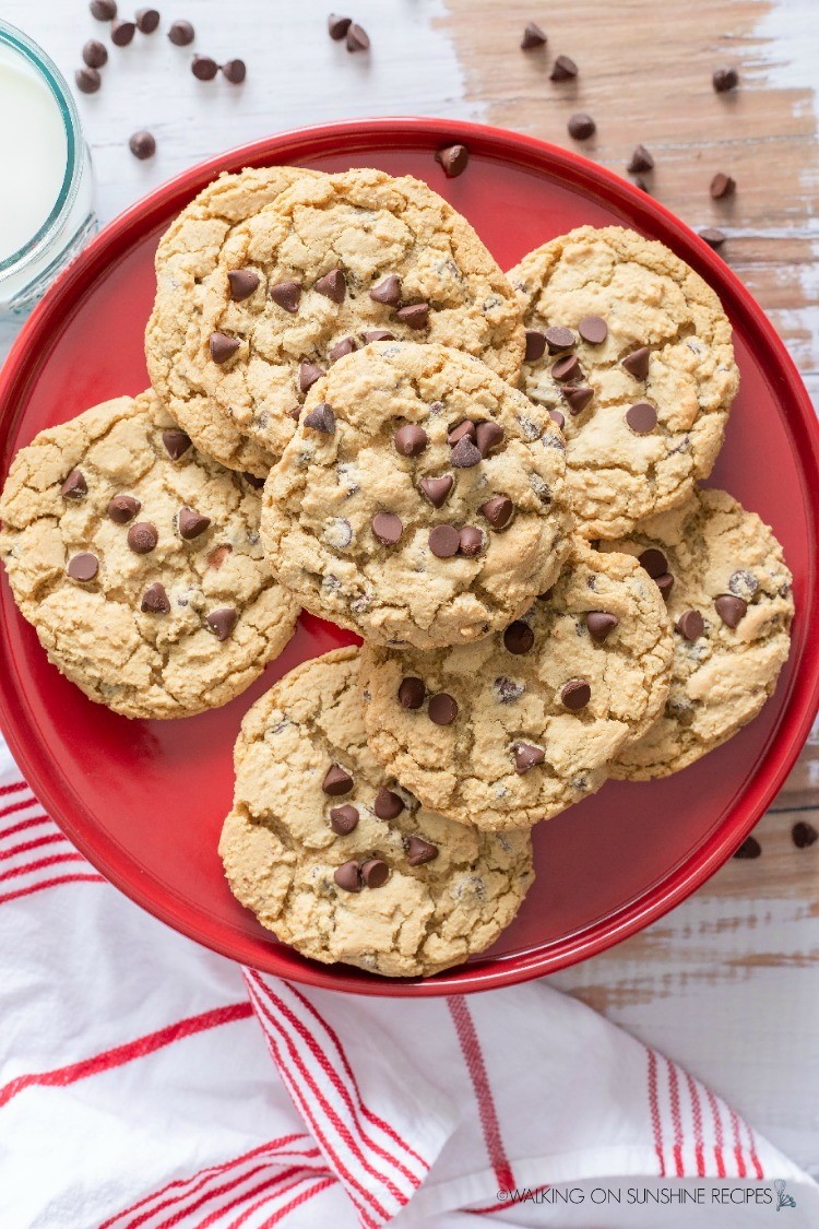 12  chocolate chip cookies on red plate.