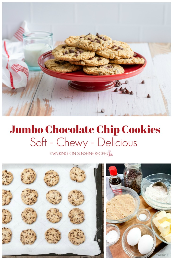Chocolate Chip Cookies on red plate, baking tray and ingredients.
