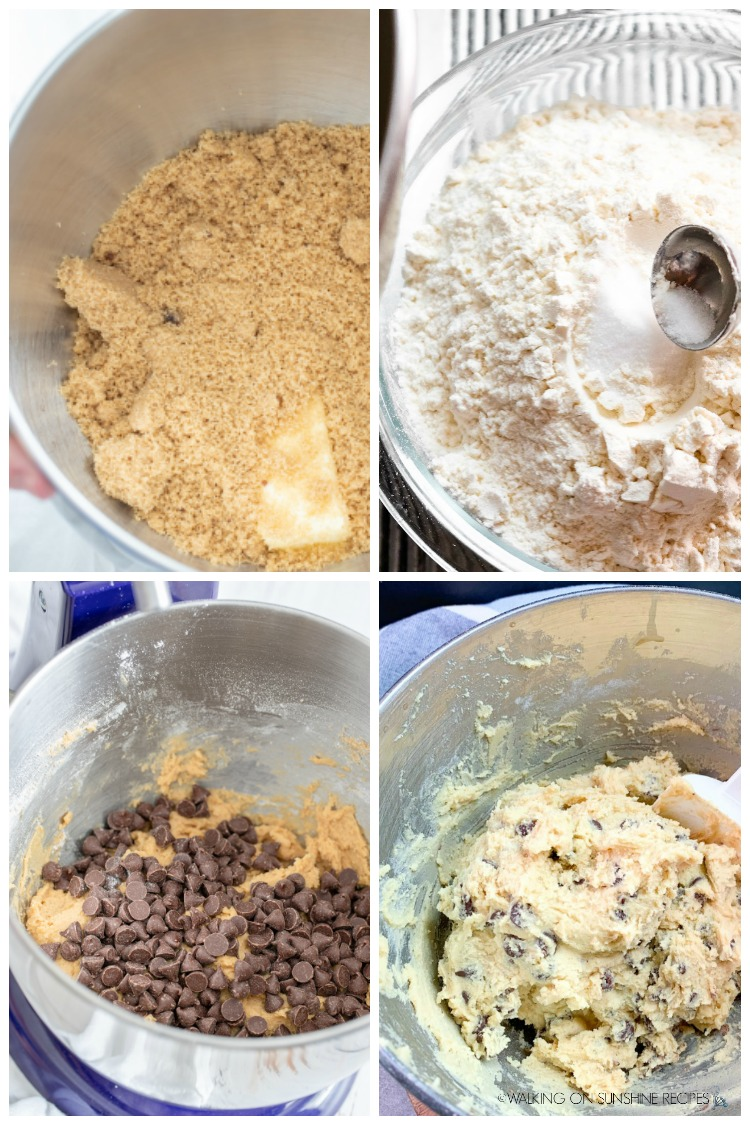 process photos for chocolate chip cookies.