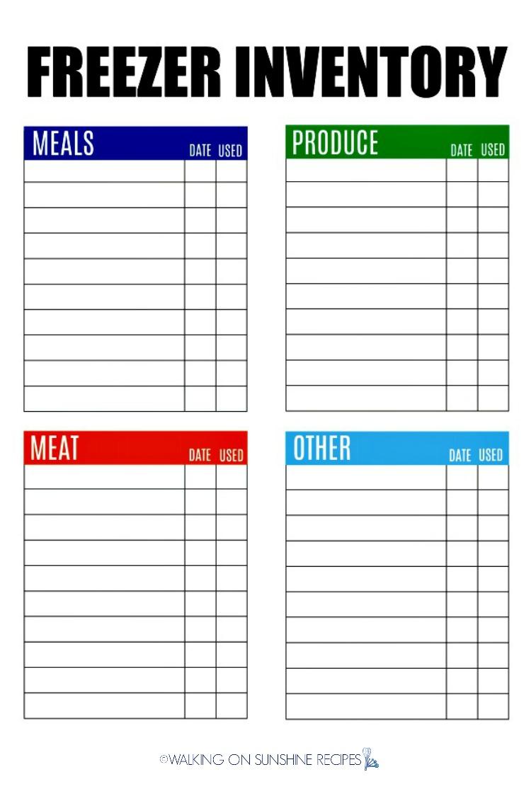 Freezer Inventory Free Printable