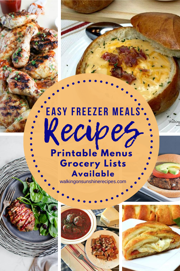 7 easy freezer meals and recipes featured for Weekly Meal Plan #2.
