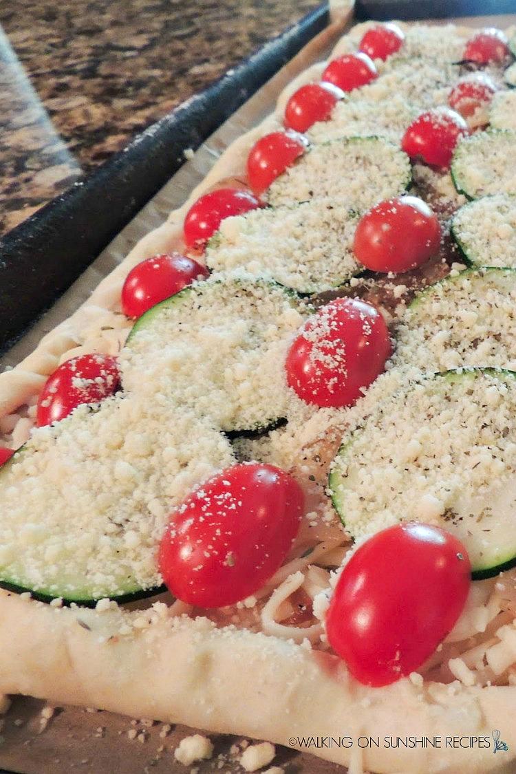 Tomato Zucchini Tart before baking