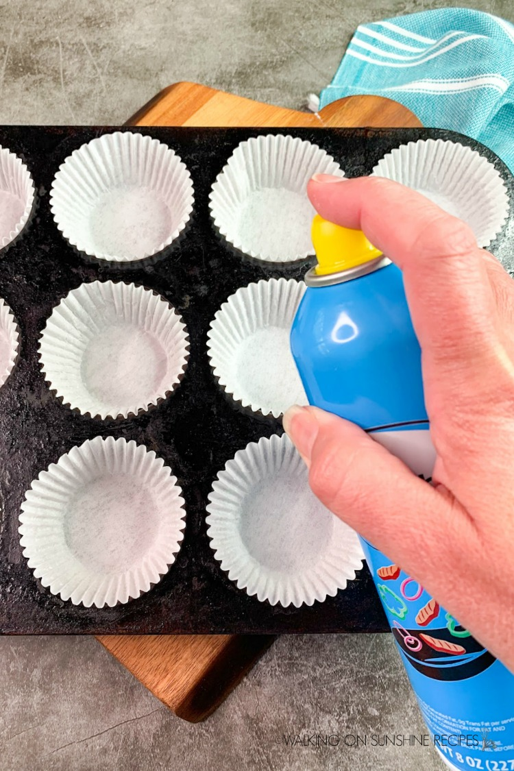 Spray muffin liners with non-stick cooking spray so the muffins don't stick.