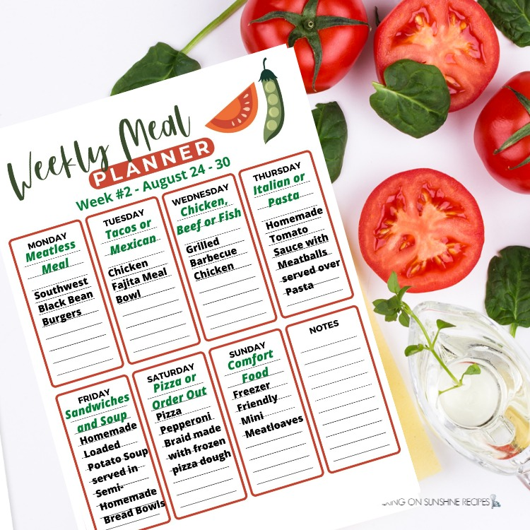 Weekly Meal Plan for the week of August 24 - 30.