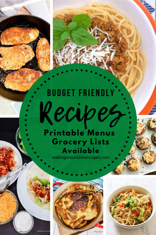 7 Budget Friendly Recipes featured for Weekly Meal Plan #1