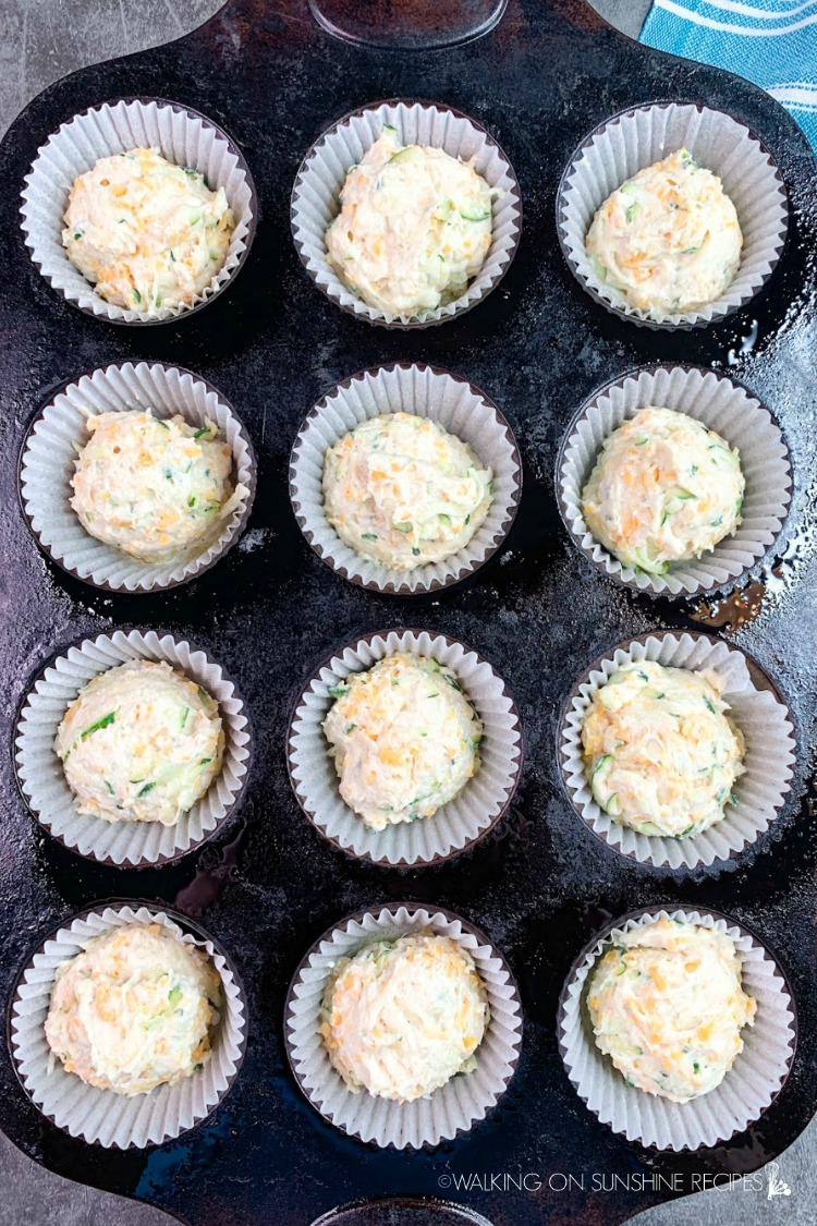 Zucchini Muffins ready for the oven in baking tray