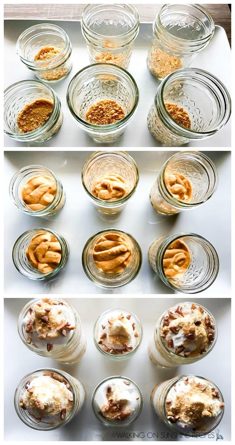 Adding graham crackers, pumpkin pudding and whipped cream to mason jars