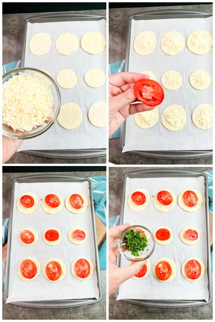 Arrange mozzarella cheese, sliced tomatoes and chopped herbs on puff pastry rounds