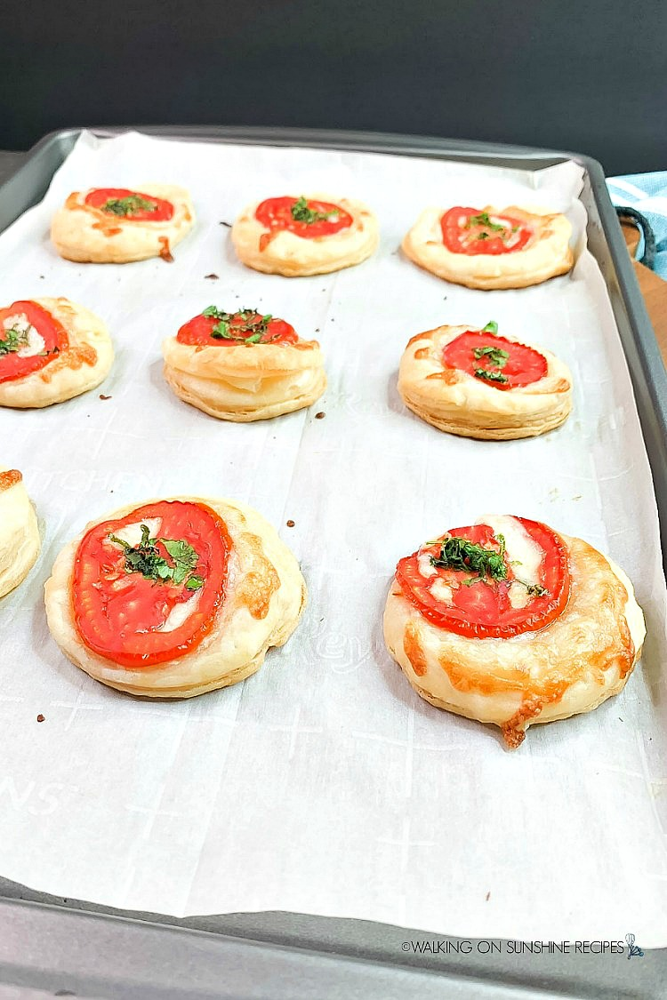Baked Tomato Tarts Puff Pastry on Baking Sheet