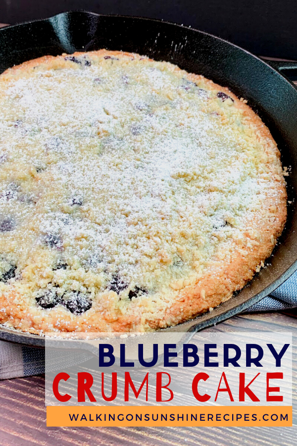 Blueberry Crumb Coffee Cake in skillet pan baked with powdered sugar on top.
