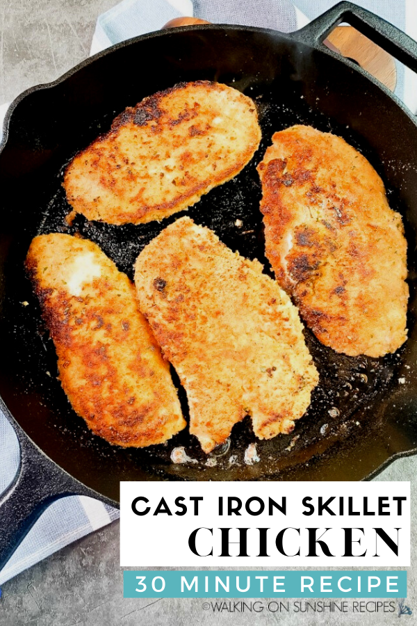 4 cooked boneless skinless chicken breasts in cast iron skillet pan.