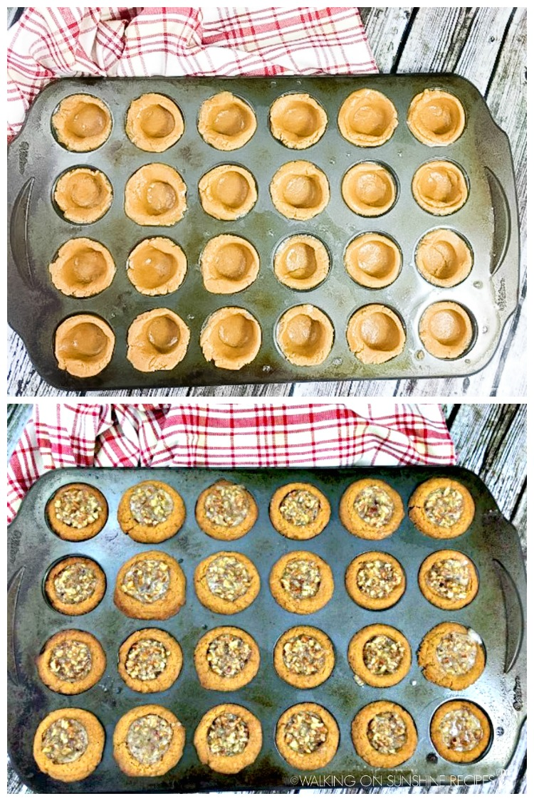cookie cups before and after baking in muffin pan.