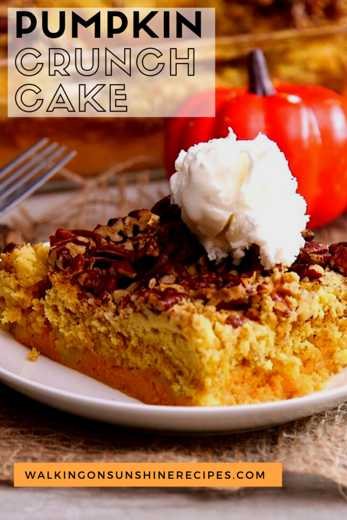 Pumpkin Cake topped with pecan crumble topping and ice cream.